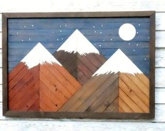 upcycled wood mountain art, reclaimed wood decor, mountains/moon decor, wall decor, rustic home decor, primitive decor, wall art, moon