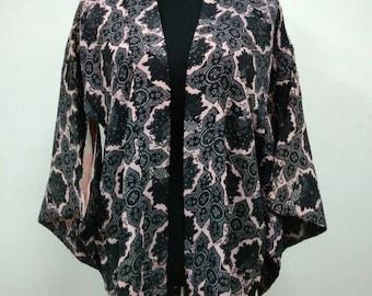 Japanese haori kimono black pink floral kimono jacket /kimono cardigan/kimono robe/#054
