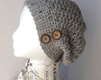 Ladies slouch hat.  Ladies crochet hat.