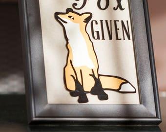 "Zero Fox Given OR ""I don't give a fox"" Wall Decor"