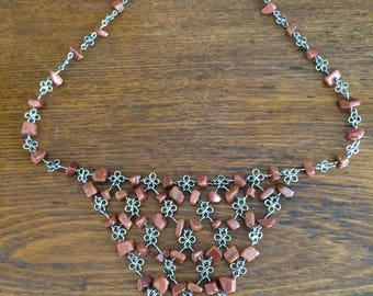 Unique Handmade Stainless Steel Goldstone Necklace