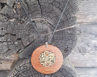 Exotic wood pendant - herbal inlay ( burdock, rush, nettle ).Nature inspired wood