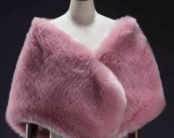 Pink Large Faux Fur Wrap, Bridal Fur Stole, Fur Cape, Wedding stole fur, Faux Fur Shrug, Faux Fur shawl