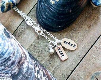 "Sterling Silver Hand stamped ""West Coast"" charms and necklace"