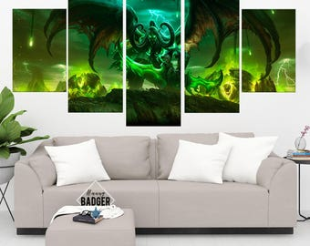 Illidan Stormrage World of Warcraft 5 Panel / Piece Canvas Set WoW Wall Art Print Poster Artwork Wall Decor Painting Decal Mural Decoration