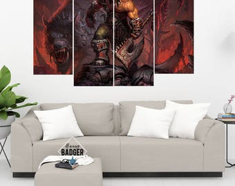 Grommash Hellscream World of Warcraft 4 Panel Piece Canvas Set WoW Wall Art Print Poster Artwork Wall Decor Painting Decal Mural Decoration