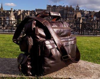 New Genuine Italian Leather Briefcase Backpack Rucksack Large Duffle Shoulder Travel Flight Cabin Bag Mocha Dark Brown Large Verano