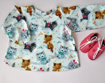 Baby blouse, long sleeve, vintage cats print, girl and baby blouse