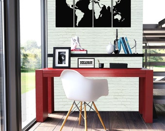 World map wall art metal etsy metal world map 4 parts 3d wall silhouette metal wall decor home office decoration room gumiabroncs Images