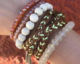 Tassel Bracelet Set, Set of 4 Bracelets, Stacking Bracelets Set, Boho Bracelets
