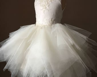 VICTORIA Ivory Lace Tulle Flower Girl Dress Vintage Dress Wedding Bridesmaid Dress