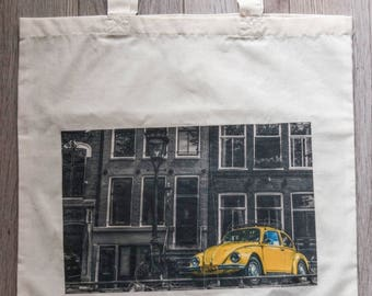 """Reusable Library Bag with """"Vintage Bug"""""""