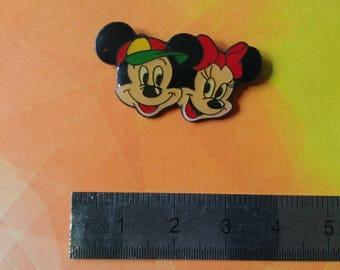 Vintage Disney Mickey and Minnie heads retro enamel pins