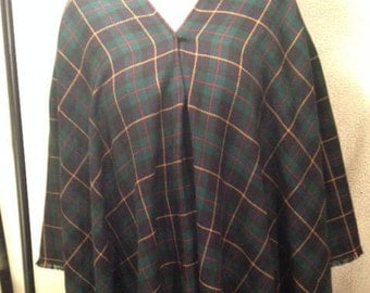 DKNY 100% wool and cashmere women's vintage poncho/cape plaid blue and green Made in USA