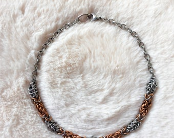 Bronze and Stainless Steel Byzantine and Box Weave Chain 18 gauge - Unisex