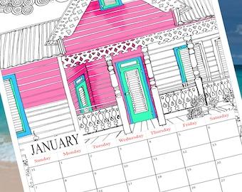 2018 Colouring Calendar, Printable coloring calendar, 2018 calendar download, Calendar colouring, calendar printable PDF