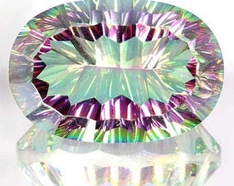 62.30Cts Natural Rainbow Excellent Fire Mystic Topaz Oval Concave Cut Gemstone