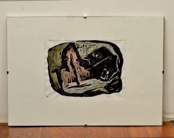 Silence. Original hand-colored linocut print
