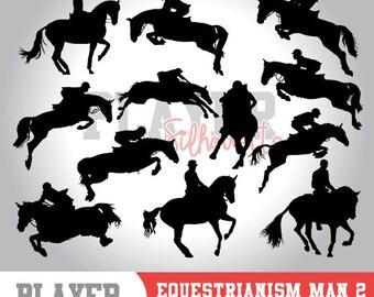 Equestrianism Men SVG, Equestrianism Sport svg, Equestrianism digital clipart, athlete silhouette, Equestrianism Men, cut file, Horse, A-032