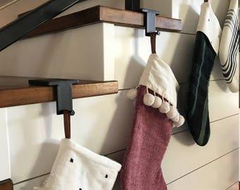 Black Iron Metal Christmas Stocking Holder, Stocking Hanger, Mantel Stocking Hanger, Mantel Hook, Shelf Hanger