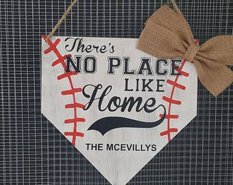 personalized baseball door hanger wood sign
