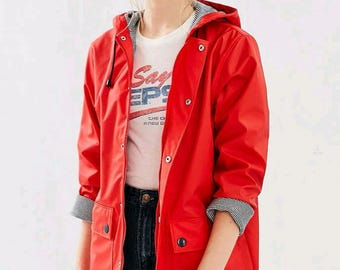 Ladies PU - leather Classic Raincoat, Ladies Raincoat, Festival MAC, Womans Wind Jacket, Waterproof. Soft Red color, Free Shipping!