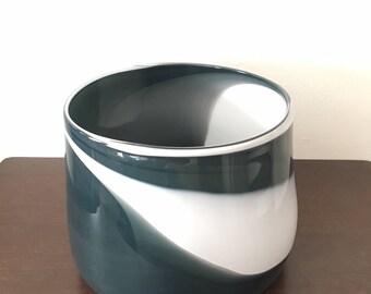 Black and White Hand Blown Glass Vase