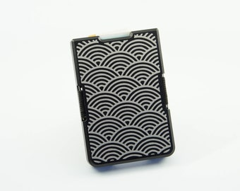 Custom Minimal Wallet / Card Holder Black, Wave Pattern Engraving, Personalised, Aluminium