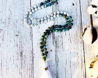 Turquoise Mala • Howlite Mala • Mala Necklace • 108 Mala • Knotted Mala • Meditation Mala • Tassel Necklace • Prayer Beads  • Yoga Jewelry