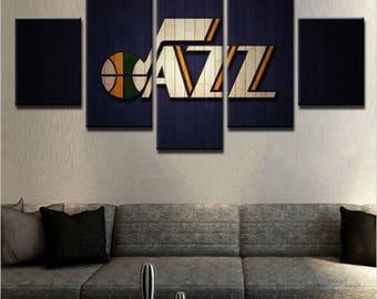 Utah Jazz 5 Piece Wall Canvas