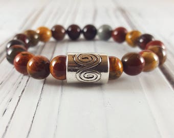 Men/Women Petrified Wood Bracelet for women/Bracelet for men. Mens bracelet/Womens bracelet. Gift him/her. Calm. Security.Stability.Strength