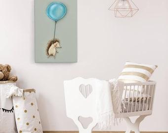 Hedgehog with balloon-children's room canvas 60 x 40 x 2 cm