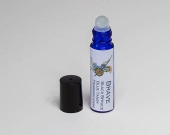 Brave Essential Oil Roller Bottle! Frankincense, Blue Tansy, Black Spruce, Geranium Blend- 10mL Roll-On Natural Remedy ~ FREE SHIPPING!