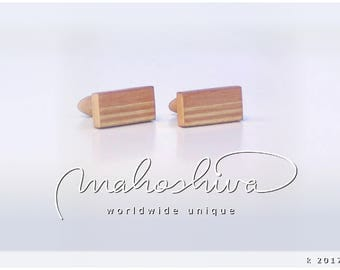 wooden cuff links wood flamed maple maple handmade unique exclusive limited jewelry - mahoshiva k 2017-05
