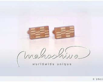 wooden cuff links wood cherry maple handmade unique exclusive limited jewelry - mahoshiva k 2017-49