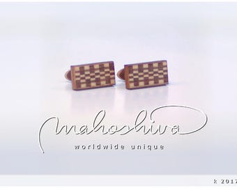 wooden cuff links wood walnut maple handmade unique exclusive limited jewelry - mahoshiva k 2017-73