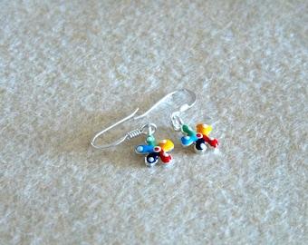 "Earrings ""enamelled flower"""