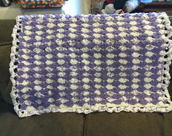 Hand crocheted newborn baby blanket