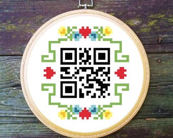Home Sweet Home QR code cross stitch pattern *PATTERN ONLY* pdf Instant Download