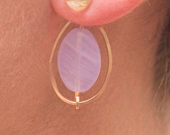 lavender and gold speck earring jackets