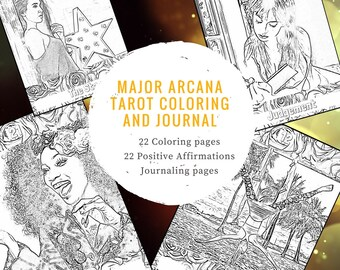 22 Tarot Major Arcana Coloring Sheets Affirmations Journal Modern Pages Book Adult Meditative Learn Study Journaling Positive