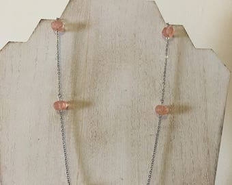Vintage Peach Beaded Necklace
