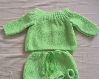 BABY set: jacket pants booties hand knitted