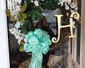 Door wreaths with initials