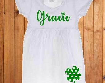 Girls St. Patrick's Day personalized clover dress