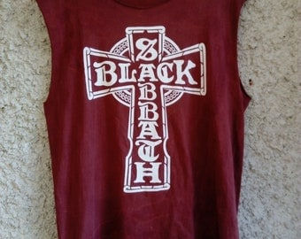 Black Sabbath - Cross shirt metal vintage (Heavy Metal Rock Legend, Deep Purple, Judas Priest, Iron Maiden, Motorhead, Dio )