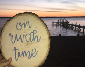 On Rivah Time Wood Slice Art | Home Decor