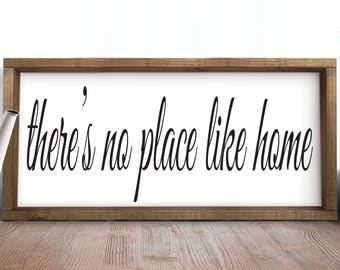 There's No Place Like Home Sign, Farmhouse Sign, Entryway, Foyer, Rustic Entryway Decor, Living Room Decor, Large Signs For Home, Signs
