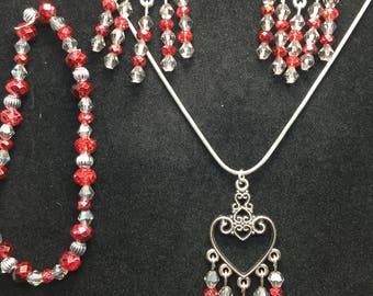 Red Antique Silver Crystal Necklace Bracelet Earring set