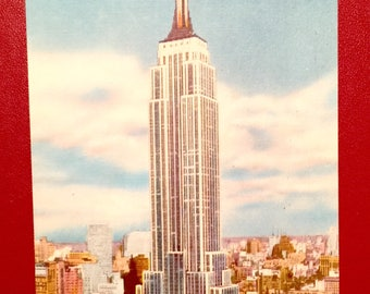Vintage Postcard Empire State Building New York NY  Linen 1940s